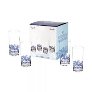 Spode Blue Italian Hiball Glass Set of 4