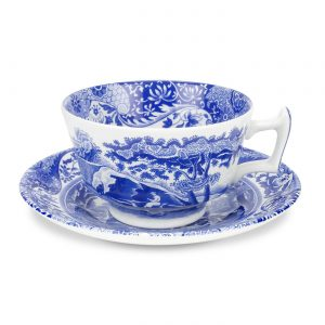 Spode Blue Italian Teacup and Saucer Set of 6